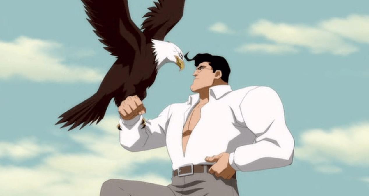 E ainda nos dá esta fantástica imagem do Super-Homem de peito à mostra a segurar uma águia. Que mais se pode querer?